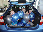 Alex and Josh Matthews and Lucas Carton test out the boot of the new Skoda Rapid at Western Motors. Photo:Colin Bell/pressphotos.ie