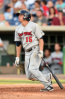 Brevard County Manatees  outfielder Tyrone Taylor (15) at bat during a game against the Clearwater Threshers on June 28, 2014 at Bright House Field in Clearwater, Florida.  Brevard County defeated Clearwater 6-4.  (Mike Janes/Four Seam Images)
