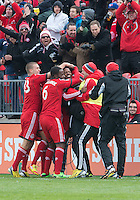 20 April 2013: Toronto FC defender Jeremy Hall #25 celebrates his goal during the second half in an MLS game between the Houston Dynamo and Toronto FC at BMO Field in Toronto, Ontario Canada..The game ended in a 1-1 draw...
