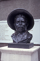 Bust of outlaw and hero of the Mexican Revolution Pancho Villa intThe Quinta Luz mansion or Museo de la Revolucion Mexicana in the city of Chihuahua, Mexico.