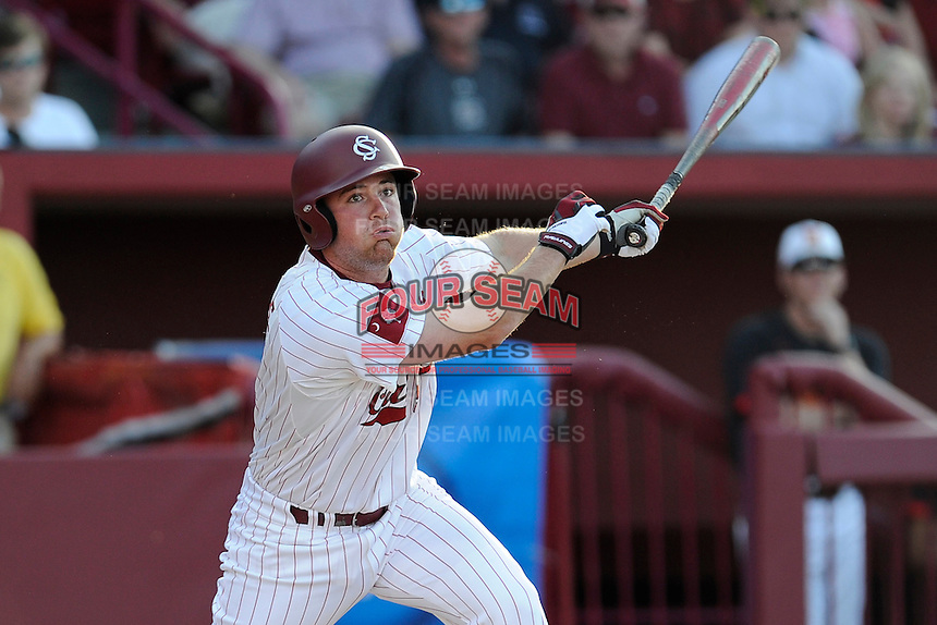 Third baseman Joey Pankake (9) of the South Carolina Gamecocks bats in an NCAA Division I Baseball Regional Tournament game against the Maryland Terrapins on Sunday, June 1, 2014, at Carolina Stadium in Columbia, South Carolina. Maryland won, 10-1, to win the tournament. (Tom Priddy/Four Seam Images)