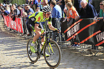Julien Stassen (BEL) WB Veranclassic Aquality Protect on the famous cobbled climb of Kemmelberg during Gent-Wevelgem in Flanders Fields 2017 running 249km from Denieze to Wevelgem, Flanders, Belgium. 26th March 2017.<br /> Picture: Eoin Clarke | Cyclefile<br /> <br /> <br /> All photos usage must carry mandatory copyright credit (&copy; Cyclefile | Eoin Clarke)