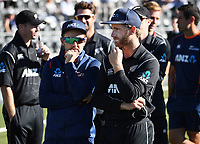 Mike Hesson and Kane Williamson.<br /> New Zealand Blackcaps v England. 5th ODI International one day cricket, Hagley Oval, Christchurch. New Zealand. Saturday 10 March 2018. &copy; Copyright Photo: Andrew Cornaga / www.Photosport.nz