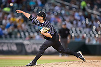 Charlotte Knights starting pitcher Carson Fulmer (28) delivers a pitch to the plate against the Norfolk Tides at BB&T BallPark on May 2, 2017 in Charlotte, North Carolina.  The Knights defeated the Tides 8-3.  (Brian Westerholt/Four Seam Images)