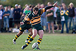 B. Clark attempts a penalty late in the 1st half. CMRFU Counties Power Premier Club Rugby game between Patumahoe & Pukekohe played at Patumahoe on April 12th, 2008..The halftime score was 10 all with Pukekohe going on to win 23 - 18.