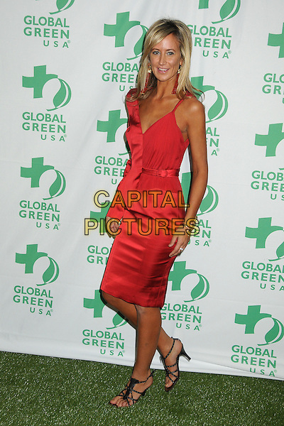 Lady Victoria Hervey.10th Annual Global Green USA Pre-Oscar Party held at Avalon, Hollywood, California, USA, 20th February 2013..full length red one sleeve dress tanned black strappy sandals .CAP/ADM/BP.©Byron Purvis/AdMedia/Capital Pictures.