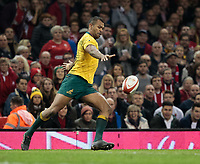 Australia's Kurtley Beale clears<br /> <br /> Photographer Simon King/CameraSport<br /> <br /> International Rugby Union - 2017 Under Armour Series Autumn Internationals - Wales v Australia - Saturday 11th November 2017 - Principality Stadium - Cardiff<br /> <br /> World Copyright &copy; 2017 CameraSport. All rights reserved. 43 Linden Ave. Countesthorpe. Leicester. England. LE8 5PG - Tel: +44 (0) 116 277 4147 - admin@camerasport.com - www.camerasport.com