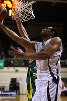 Tall Blacks forward Mika Vukona lays a shot up during the International basketball match between the NZ Tall Blacks and Australian Boomers at TSB Bank Arena, Wellington, New Zealand on 25 August 2009. Photo: Dave Lintott / lintottphoto.co.nz
