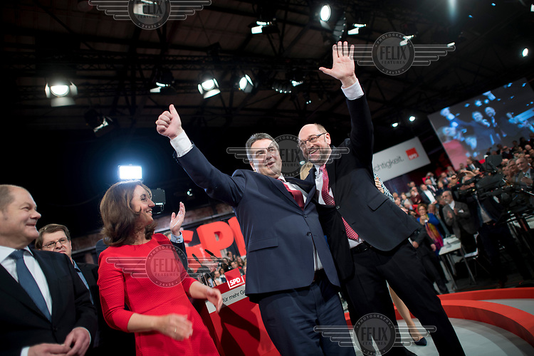 Martin Schulz, leader of the SPD and Sigmar Gabriel, the former leader, during a party conference. Schulz is the SPD's candidate for chancellor in the 2017 federal election.