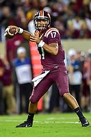 Blacksburg, VA - SEPT 30, 2017: Virginia Tech Hokies quarterback Josh Jackson (17) drops back to pass during game between Clemson and Virginia Tech at Lane Stadium/Worsham Field Blacksburg, VA. (Photo by Phil Peters/Media Images International)