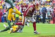Landover, MD - September 23, 2018: Washington Redskins wide receiver Jamison Crowder (80) scores a touchdown during game between the Green Bay Packers and the Washington Redskins at FedEx Field in Landover, MD. The Redskins get the win 31-17 over the visiting Packers. (Photo by Phillip Peters/Media Images International)