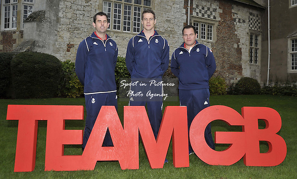 (l to r) Ed Ling (Mens Trap), Tim Kneale (Mens Double Trap) and Steve Scott (Mens Double Trap). TeamGB announcement of shooting athletes for Rio 2016 Olympics. Bisham Abbey. Marlow. Buckinghamshire. England. UK. 10/11/2015. MANDATORY Credit Garry Bowden/SIPPA - NO UNAUTHORISED USE - 07837 394578