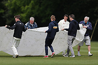 The covers are removed during Brentwood CC vs Wanstead and Snaresbrook CC (batting), Shepherd Neame Essex League Cricket at The Old County Ground on 11th May 2019