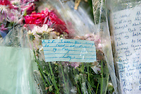 Pictured: Tributes left for Carson Price at Ystrad Mynach park in Ystrad Mynach, Caerphilly, Wales, UK.Tuesday 07 May 2019<br /> Re: Funeral of 13 year old Carson Price at Gelligaer Church, in Gelligaer, Wales, UK.<br /> Schoolboy Carson Price was found at a park in Ystrad Mynach, south Wales at the start of the Easter school holidays.<br /> It is believed he had taken MDMA Donkey Kong tablets.