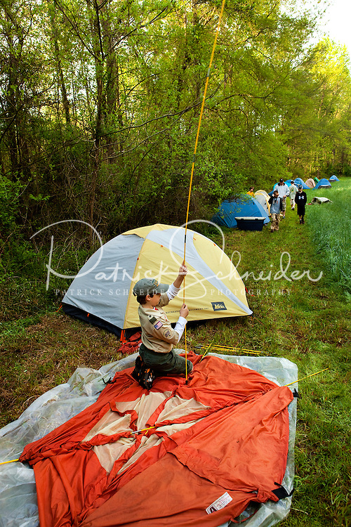Mecklenburg County Boy Scouts hone their outdoor skills during a campout in Iredell County, North Carolina.