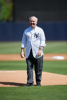 Tampa mayor Bob Buckhorn gets ready to throw out the ceremonial first pitch before a New York Yankees Grapefruit League Spring Training game against the Toronto Blue Jays on February 25, 2019 at George M. Steinbrenner Field in Tampa, Florida.  Yankees defeated the Blue Jays 3-0.  (Mike Janes/Four Seam Images)