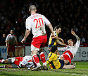 David Bridges of Stevenage Borough is fouled and a penalty awarded during the Blue Square Premier match between Stevenage Borough and Oxford United at the Lamex Stadium, Broadhall Way, Stevenage on Saturday 27th March, 2010..© Kevin Coleman 2010 .