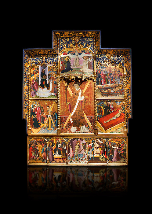 Gothic altarpiece dedicated to St Vincent by Bernat Martorell circa 1483-1440 in Barcelona, tempera and gold lef on wood from the Parish church of St Vincent of menarguens, Noguera, Spain. At the top of the central panels of the altar tryptic, replacing the traditional Calvery scene, can be seen in the centre the Virgin of Mercy and kneeling to the left is Sant Benet de Bages, in black, and to the right St. Bernard of Clairvaux, patron saint of thr Benedictine and Cistercian orders . Below this is a depiction of St Vincent and either side are scenes of the Mardom of Vincent. Along the bottom are scenes from the Passion of Christ, with Judas in a yellow tunic kissing Christ and a furious Peter cutting off the ear of Malcus. National Museum of Catalan Art (MNAC), Barcelona, Spain, inv 15797. Against a black background.