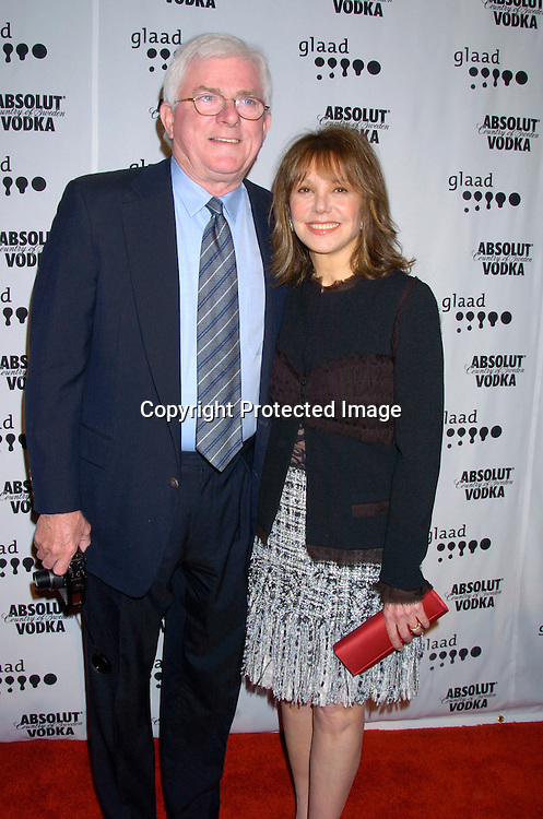 Phil Donahue and Marlo Thomas ..at the 15th Annual GLAAD Media Awards on April 12, 2004 ..at the Marriott Marquis Hotel. ..Photo by Robin Platzer, Twin Images