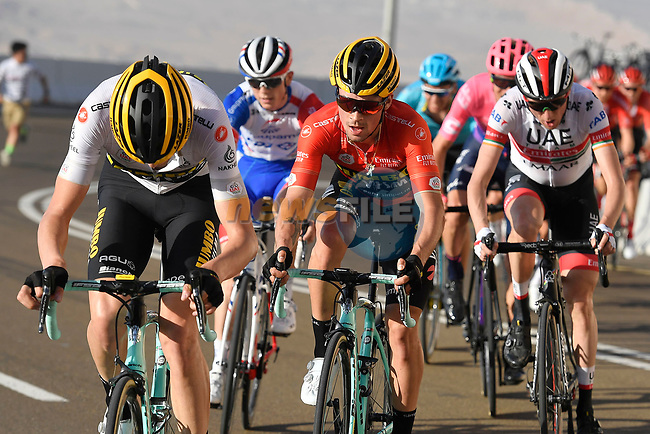 Race leader Red Jersey Primoz Roglic (SLO) Team Jumbo-Visma is paced up the final climb followed by Dan Martin (IRL) UAE Team Emirates during Stage 3 of the 2019 UAE Tour, running 179km form Al Ain to Jebel Hafeet, Abu Dhabi, United Arab Emirates. 26th February 2019.<br /> Picture: LaPresse/Fabio Ferrari | Cyclefile<br /> <br /> <br /> All photos usage must carry mandatory copyright credit (© Cyclefile | LaPresse/Fabio Ferrari)