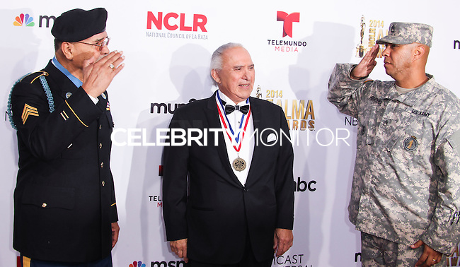 PASADENA, CA, USA - OCTOBER 10: Sergeant Santiago J. Erevia, Rick Leal arrive at the 2014 NCLR ALMA Awards held at the Pasadena Civic Auditorium on October 10, 2014 in Pasadena, California, United States. (Photo by Celebrity Monitor)