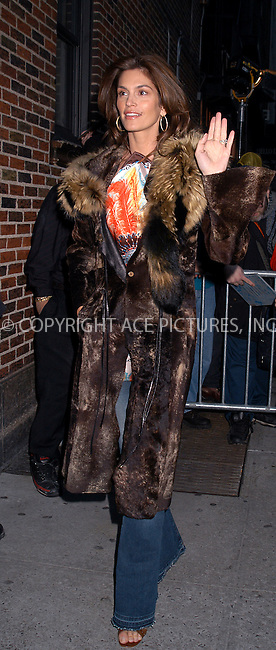 Cindy Crawford arrives at Ed Sullivan Theater to make an appearance on 'The Late Show With David Letterman.' New York, February 4, 2004. Please byline: AJ SOKLANER/NY Photo Press.   ..*PAY-PER-USE*      ....NY Photo Press:  ..phone (646) 267-6913;   ..e-mail: info@nyphotopress.com