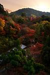 Kiyomizu-dera temple grounds with a view on Koyasu pagoda in a beautiful colorful autumn scenery. Higashiyama, Kyoto, Japan travel photography 2017.