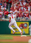 7 October 2017: Washington Nationals third baseman Anthony Rendon rounds second after opening the scoring with a solo home run in the first inning of the second NLDS game against the Chicago Cubs at Nationals Park in Washington, DC. The Nationals defeated the Cubs 6-3 and even their best of five Postseason series at one game apiece. Mandatory Credit: Ed Wolfstein Photo *** RAW (NEF) Image File Available ***