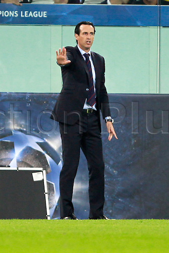 30.09.2015. Turin, Italy. Champions League. Juventus versus Sevilla. Head coach of Sevilla Unai Emery gives instructions to his players