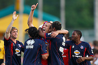 Crystal Palace midfielder Dan Lader (15) celebrates scoring with teammates. The New England Revolution (MLS) defeated Crystal Palace FC USA of Baltimore (USL2) 5-3 in penalty kicks after finishing regulation and overtime tied at 1-1 during a Lamar Hunt US Open Cup quarterfinal match at Veterans Stadium in New Britain, CT, on July 8, 2008.