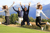 European Tour girls jump for joy after Matthew Fitzpatrick (ENG) wins the 2018 Omega European Masters, after a playoff held at the Golf Club Crans-Sur-Sierre, Crans Montana, Switzerland. 9th September 2018.<br /> Picture: Eoin Clarke | Golffile<br /> <br /> <br /> All photos usage must carry mandatory copyright credit (© Golffile | Eoin Clarke)