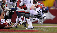 NWA Media/ J.T. Wampler -Arkansas' Trey Flowers sacks Ole Miss quarterback Bo Wallace Saturday Nov. 22, 2014.