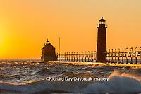 64795-01115 Grand Haven South Pier Lighthouse at sunset on Lake Michigan, Ottawa County, Grand Haven, MI