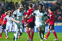 Saturday 2nd Febuaray 2014<br /> Pictured: Wilfried Bony Celebrates his second half goal<br /> Re: Barclays Premier League Swansea City FC  v Cardiff City FC at the Liberty Stadium, Swansea
