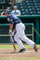 San Antonio Missions designated hitter Hunter Renfroe (10) runs to first base during the Texas League baseball game against the Midland RockHounds on June 28, 2015 at Nelson Wolff Stadium in San Antonio, Texas. The Missions defeated the RockHounds 7-2. (Andrew Woolley/Four Seam Images)