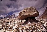 Rock on ice pedestal, Baltoro Glacier, Pakistan