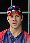 28 September 2012: Minnesota Twins catcher Joe Mauer sits in the dugout prior to a game against the Detroit Tigers at Target Field in Minneapolis, MN. The Twins defeated the Tigers 4-2 in the first game of their 3-game series. Mandatory Credit: Ed Wolfstein Photo