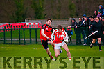 Brosna V Tarbert : Brosna's Timmy Finnegan wins the ball from Tarbert's Conor Flavin in the semi final of the McMunn's sponsored Bernard O'Callaghan Memorial Senior North Kerry Football Championship in Listowel on Sunday last.