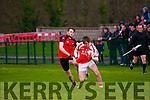 Brosna V Tarbert : Brosna's Timmy Finnegan wins the ball from Tarbert's Conor Flavin in the semi final of the McMunn's sponsored Bernard O'Callaghan Memorial Senior North Kerry Football Championship in Listowel on Sunday last.