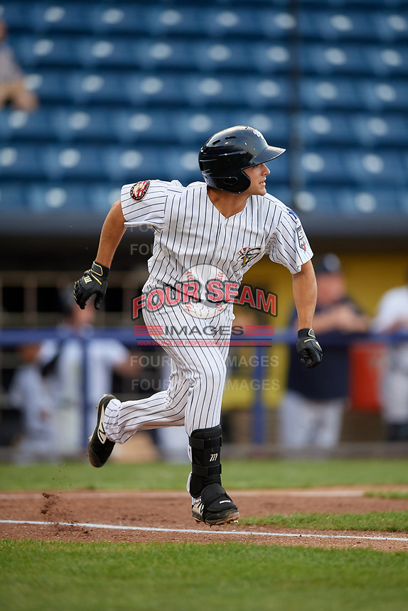 Staten Island Yankees Josh Smith (26) runs to first base during a NY-Penn League game against the Aberdeen Ironbirds on August 22, 2019 at Richmond County Bank Ballpark in Staten Island, New York.  Aberdeen defeated Staten Island in a rain shortened game.  (Mike Janes/Four Seam Images)