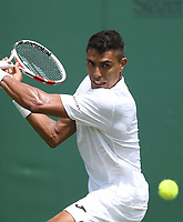 Thiago Monteiro (BRA) during his match against Kei Nishikori (JPN) in their Gentleman's Singles First Round match<br /> <br /> Photographer Rob Newell/CameraSport<br /> <br /> Wimbledon Lawn Tennis Championships - Day 2 - Tuesday 2nd July 2019 -  All England Lawn Tennis and Croquet Club - Wimbledon - London - England<br /> <br /> World Copyright © 2019 CameraSport. All rights reserved. 43 Linden Ave. Countesthorpe. Leicester. England. LE8 5PG - Tel: +44 (0) 116 277 4147 - admin@camerasport.com - www.camerasport.com