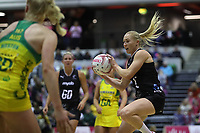 19.01.2019 Silver Ferns Laura Longman in action during the Silver Ferns v Australia netball test match at The Copper Box Arena. Mandatory Photo Credit ©Michael Bradley Photography/Christopher Lee