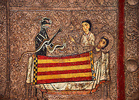 Romanesque painted altar front from Santa Maria Gia, Spain, showing the temptaion of Saint Martin.  National Art Museum of Catalonia, Barcelona 1958. Ref: MNAC 3902.