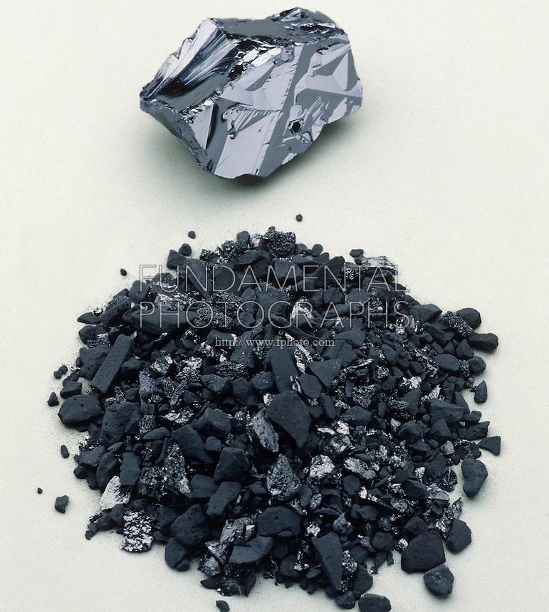 SILICON AND BORON<br /> Crystalline Metalloids<br /> Top: silicon. Bottom: boron