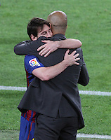 5/05/2012. Barcelona, Spain. La Liga. Picture show Leo Mesi and Pep Guardiola after scoring during match FC Barcelona against RCD ESpanyol at Camp Nou