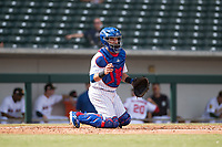 Mesa Solar Sox catcher P.J. Higgins (12), of the Chicago Cubs organization, during an Arizona Fall League game against the Peoria Javelinas at Sloan Park on October 11, 2018 in Mesa, Arizona. Mesa defeated Peoria 10-9. (Zachary Lucy/Four Seam Images)