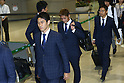 (L-R) Shinji Kagawa, Yoshito Okubo, Yuto Nagatomo (JPN), JUNE 27, 2014 - Football / Soccer : Japanese national soccer team are seen upon arrival back from the World Cup 2014 Brazil at Narita International Airport in Narita on Friday, June 27, 2014. (Photo by AFLO SPORT) [1205]