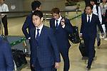 (L-R) Shinji Kagawa, Yoshito Okubo, Yuto Nagatomo (JPN), JUNE 27, 2014 - Football / Soccer : Japanese national soccer team are seen upon arrival back from the World Cup 2014 Brazil at Narita International Airport in Narita on Friday, June 27, 2014. (Photo by AFLO SPORT) [1205]