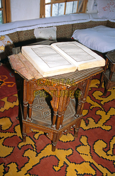 Kajtaz Turska Kula, Kajtaz Turkish House, Koran on display on table, Mostar, Bosnia Herzegovina, Former Yugoslavia