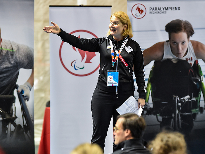 MONTREAL, QC - APRIL 29:  Catherine Gosselin addresses the guests during the 2017 Montreal Paralympian Search at Complexe sportif Claude-Robillard. Photo: Minas Panagiotakis/Canadian Paralympic Committee